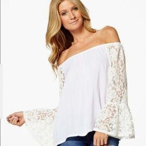 Elan White Lace Bell Sleeves Off Shoulder Top. Sm